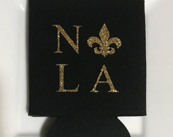 New Orleans, Louisiana Black Koozie with Gold Glitter Imaging