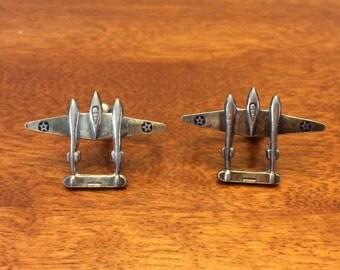 Vintage Lockheed P-38 Lightning Earrings Sterling Silver WII Sweetheart Earrings Screw Backs