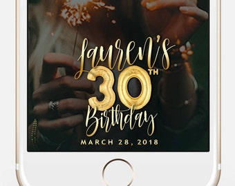 LIMITED TIME! Birthday Snapchat Filter, Birthday Filter, Geofilter, Snapchat 30th birthday for her, 30th Birthday bir110