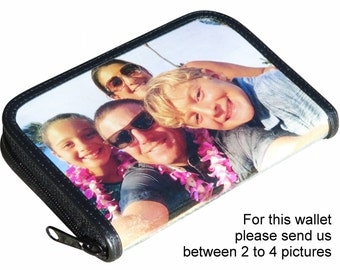 Medium size custom zip wallet for women made using pictures from you - FREE SHIPPING - customized bride wedding honeymoon honey moon gifts
