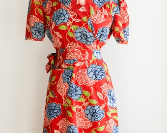 1940s Rose Print Wrap Dress/Waist 28""