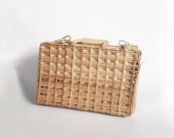 Vintage 70s Woven Straw Basket - Box - Wicker Bin with Handle