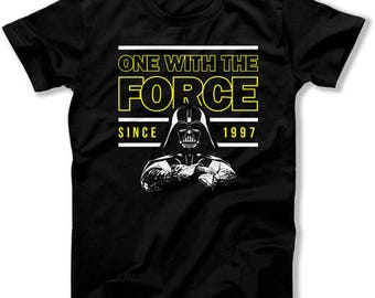 21st Birthday Gifts Personalized T Shirt Nerd Clothes Movie TShirt Bday Present One With The Force Since 1997 Birthday Mens Tee DAT-1020