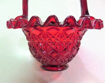 Vintage Fenton Glass Pigeon Blood / Ruby Red Basket with Sticker - Hand Made Glass Art Ruby Red