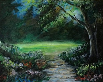 Spring in the Garden - Acrylic painting, garden, spring, wall art - by U.S. artist Greg Gilreath