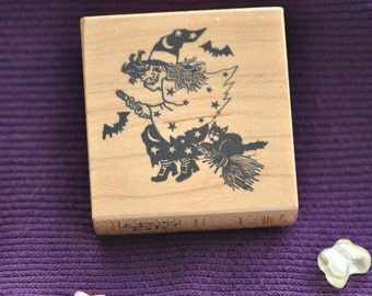Witch on a Broom Rubber Stamp PSX E-877 1988 Vintage