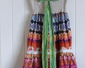 90's, tie dye, boho, rainbow, short, halter neck, sleeveless, dress