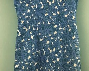 Vintage 1960s  WYNDALE blue white print shift dress UK 10/12
