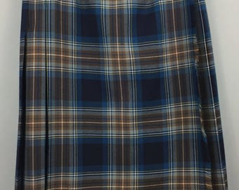 VINTAGE PITLOCHRY pure wool blue tartan pleated kilt skirt 14 made in Scotland
