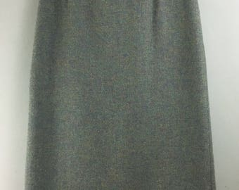 VINTAGE TREFRIW pure wool green blue tweed fitted skirt 16 woven in Wales