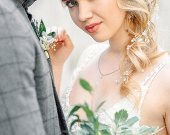 Bridal HeadPiece Long Bridal Hair Vine Crystal long Vine Crystal wreath Pearl Hair Vine Bridal Wreath Bridal Tiara Diadem Bridal Hair wreath