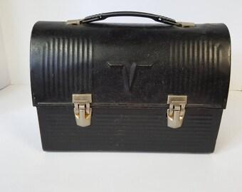 Vintage Thermos Metal lunchbox-Vintage Black Metal Thermos Lunchbox-Home Decor-Antique lunchbox-Metal box-photography prop-Vintage home deco