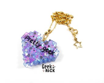 Geek necklace - Pixel heart glitter holographic bright Pretty Geek