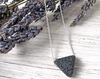 Triangle Lava Stone Necklace, Aromatherapy Pendant, Minimalist Necklace, Essential Oil Diffuser, Triangle Necklace, FoxAndBearEssentials