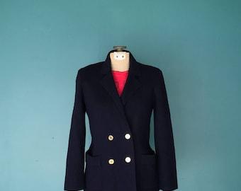 Schoolboy Blazer. French Style. Gold Button Blazer. Navy Wool Blazer. 80s Blazer. Navy Knit Blazer. Preppy Blazer. 80s Fitted Blazer