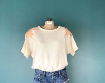 Vintage Sequin Sweater. Ivory Sweater. Sequin Sweater. Short Sleeve Sweater. 80s Sequin Sweater. Slouchy Sweater. Vintage Sequin Top