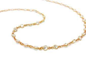 Rose Gold Crystal Bezel Necklace, Rose Gold Choker, Dainty Crystal Choker, Gold Dainty Crystal Necklace, Layering Gold Necklace, Layering