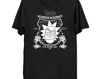 Rick And Morty Shirt RICK'S FLIGHT SCHOOL Geek T-Shirt Funny Parody Nerd Science Pop Culture Cartoon Network