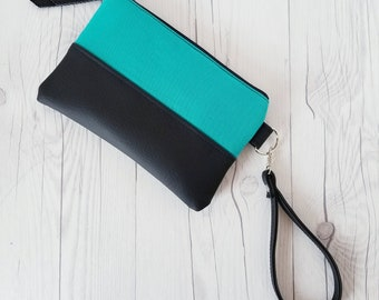 Teal and Black Wristlet - Wristlet Wallet - Womens Wallet - Faux Leather - Small Crossbody - Phone Wallet - Wristlet Purse - Bridesmaid