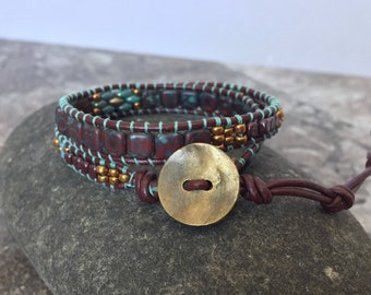 Beaded Leather Wrap Bracelet. Double Wrap Bracelet. Boho Wrap Bracelet. Beaded Bracelet. Leather Wrap Bracelet. Boho Chic.