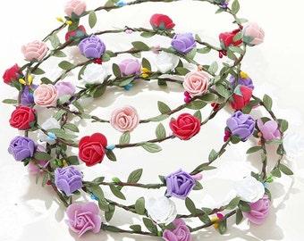 leaves crown, bridal headband, weddind hair accessories,  floral white green tiara, white flowers, birthday headband, hair pieces
