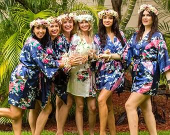 SALE! Bridesmaid Robe Set of 4,5,6,7,8,9,10, Floral Bridesmaid Robes, Bridesmaid Gift, Bride Robe, Floral robes, Bridesmaid Robe