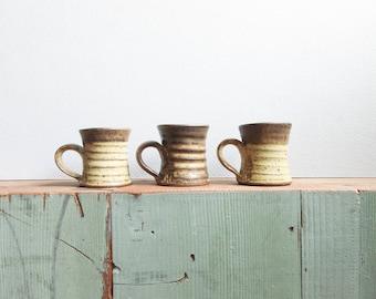 vintage stoneware mini mug set / ceramic espresso cups / small handmade studio pottery mugs (set of 3)