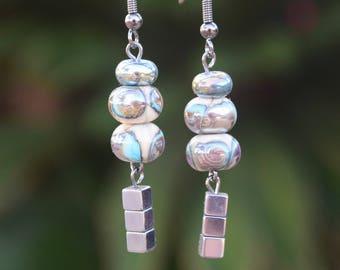 Handblown glass and hematite bead earrings