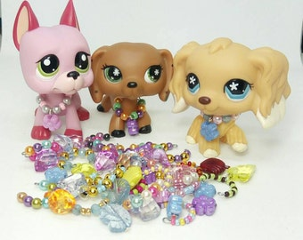Littlest Pet Shop LPS custom  3 pcs random necklaces lot  LPS outfit  LPS clothes lps  accessories * pets not  included *