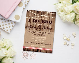 I Do BBQ Invitation, Bridal Shower BBQ, Couples Shower BBQ, Rehearsal Dinner Barbecue, Picnic Bridal Shower, Garden Party Invitation