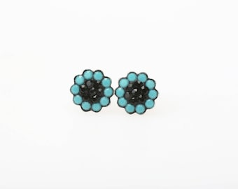 Sterling Silver Pave Radiance Stud Earrings, Swarovsky Crystals, 7mm Flower, Turquoise and Jet(Black) Color, Unique BlingBling Korean Style