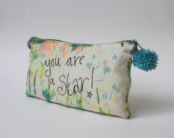 You are a Star! |Tie Dye Toiletry Zip Bag | Quote | Inspirational | Hippie Gift | Travel Gift | Birthday Gift | inspirational | Handmade
