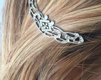Jewelry / Wedding hair, Art Nouveau, silver - Circa 1910 Barrette / / / Art Nouveau wedding silver hair pin - Circa 1910