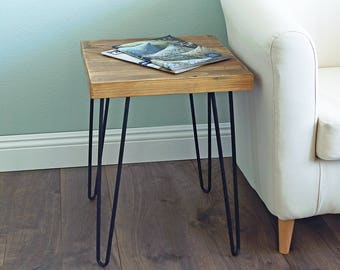 Square Old Elm Wood End Table Rustic Surface Side Table HW950-993