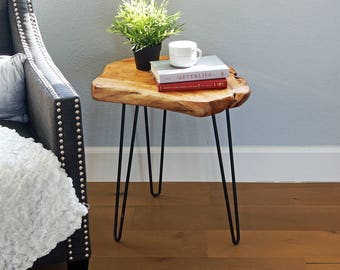 """Cedar Wood Live Edge Hairpin End Table Rustic Side Table, Mid-Century Modern, Nightstand, Accent Table, 20.5"""" Tall, HW950-540"""
