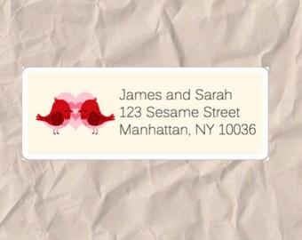 30 Custom Return Address Labels Printed (SET OF 30) rectangular 2 5/8 x 1 inch label, sticker, wedding announcements, heart, bird, love
