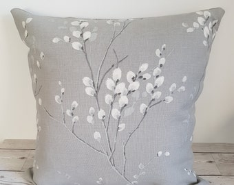 Pussy Willow Cushion Cover, steel grey colour, Laura Ashley linen fabric, 18 inch, 45 x 45 cm, square cushion