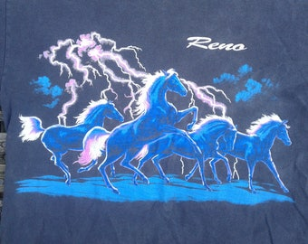 Awesome 80's / 90's Reno, Nevada / Horses Runnin' Wild in a Lightning Storm / Double-sided t-shirt
