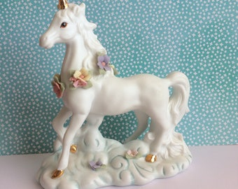 Porcelain Unicorn Figurine // Decorative White & Gold Unicorn Statue // Fairytale Decor // Girls Room Decor // Vintage Unicorn Shelf Decor