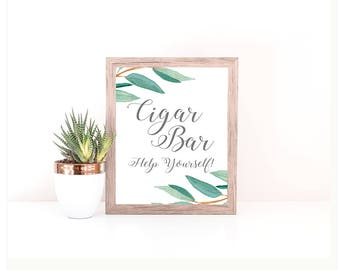 Eucalyptus Bohemian Floral Cigar Bar Wedding Sign | Boho Rustic Greenery Herbal Dessert Table Sign | Greenery Leaf Party Printable | EUC1174
