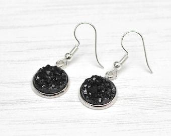 Black druzy earrings, faux druzy, faux quartz, prom earrings, special occasion, evening wear, Valentines day, black drop earrings