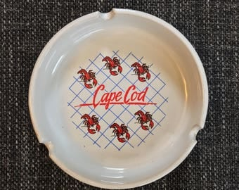 FREE US SHIPPING | Vintage 80s Cape Cod Massachusetts Lobster Red White and Blue Ash Tray