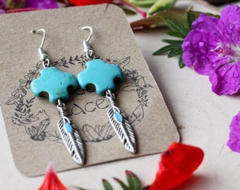 Feather Earrings with  Turquoise Howlite Cross, Sterling Silver Hooks // Rock'n'roll, Gypsy, Bohemian, Native American, Jewellery, Jewelry