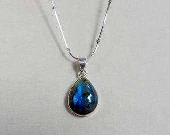 Gemstone necklace, Labradorite Necklace, Dainty necklaces for women, gift coworker jewelry, blue gift mom, birthday gifts for wife, sister