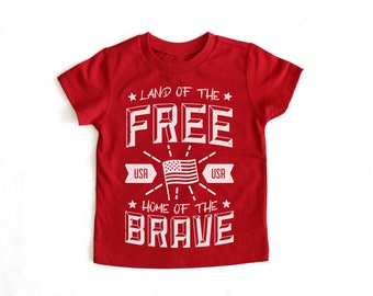 Land Of the Free Home of the Brave 4th of July baby toddler kid t shirt