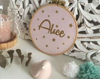 Nursery decor - child name to personalize frame - child star gold glitter - Home Sweet Home