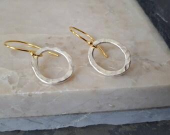 Gold and Silver earrings, Silver oval hoops earrings, boho jewelry wife, dainty oval earrings, simple earrings, everyday earrings,