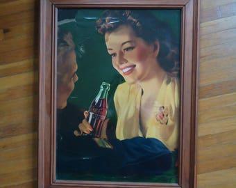Vintage Soda Advertising - Vintage Advertising - Antique Lithograph - Coca Cola advertising - Coca Cola wall hanging - Coca Cola, Coke Litho