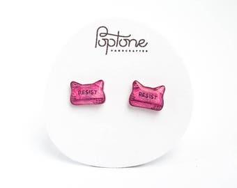Pussy Hat Earrings, pink feminist earrings, women's march 2017, pussy hats resist stud earrings