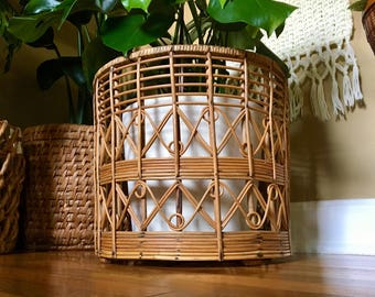 Vintage Bohemian 1960's Huge Intricate Rattan Bentwood Indoor Planter - Franco Albini Style - This Is One to See! - Vintage Bohemian Decor
